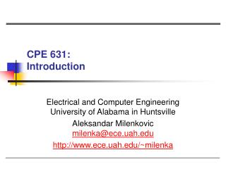 CPE 631:  Introduction