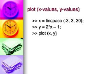 plot (x-values, y-values)
