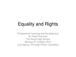 Equality and Rights