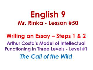 English 9 Mr. Rinka - Lesson #50