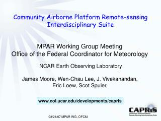 Community Airborne Platform Remote-sensing Interdisciplinary Suite
