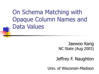 On Schema Matching with Opaque Column Names and Data Values