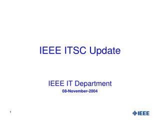 IEEE ITSC Update