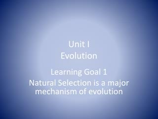 Unit I Evolution