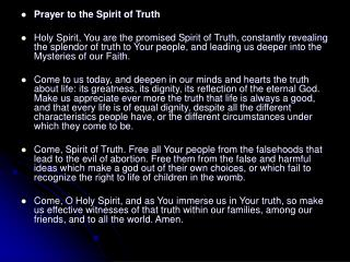 Prayer to the Spirit of Truth