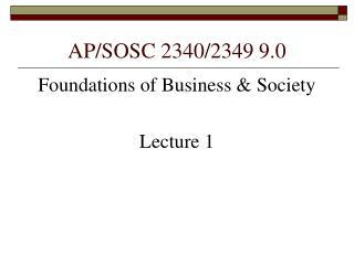 AP/SOSC 2340/2349 9.0
