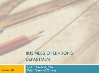 BUSINESS OPERATIONS DEPARTMENT