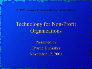 Technology for Non-Profit Organizations