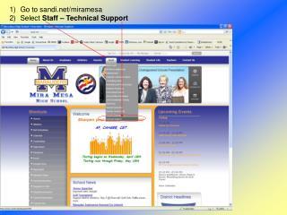 Go to sandi/miramesa Select  Staff – Technical Support
