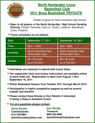 North Hunterdon Lions  Basketball Club 2011 Boys Basketball TRYOUTS