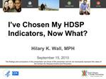 I ve Chosen My HDSP Indicators, Now What