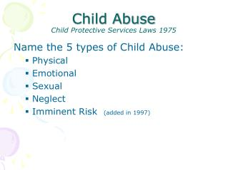 Child Abuse Child Protective Services Laws 1975