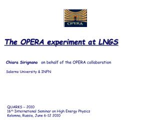 The OPERA experiment at LNGS