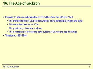 16. The Age of Jackson