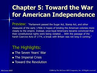 Chapter 5: Toward the War for American Independence