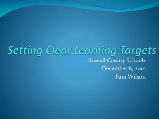 Setting Clear Learning Targets