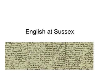 English at Sussex