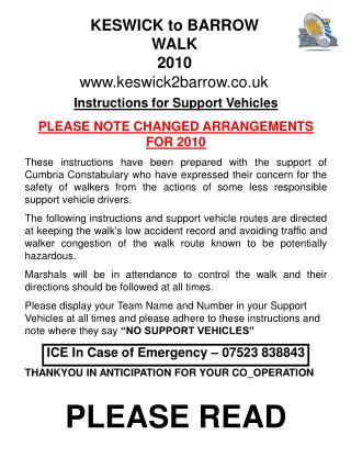 Instructions for Support Vehicles PLEASE NOTE CHANGED ARRANGEMENTS FOR 2010