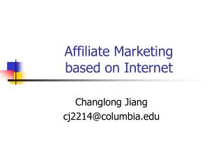 Affiliate Marketing  based on Internet
