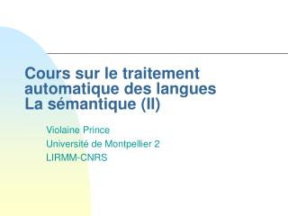 Cours sur le traitement automatique des langues La s mantique II
