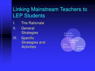 Linking Mainstream Teachers to LEP Students