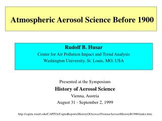 Atmospheric Aerosol Science Before 1900
