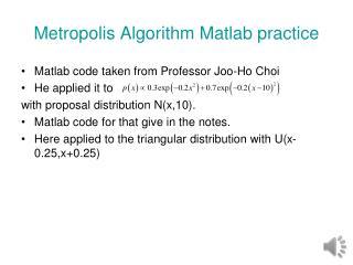 Metropolis Algorithm  Matlab  practice