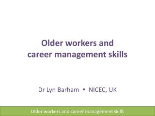 Older workers and career management skills