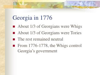 Georgia in 1776