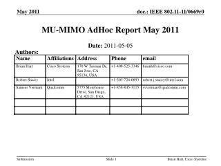 MU-MIMO AdHoc Report May 2011