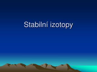 Stabilní izotopy