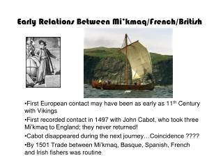 Early Relations Between Mi�kmaq/French/British