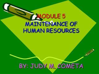 BY: JUDY M. COMETA