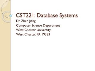 CST221: Database Systems