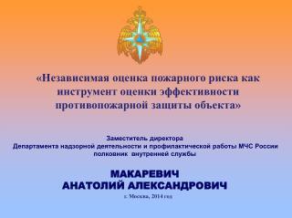 Заместитель директора  Департамента надзорной деятельности и профилактической работы МЧС России