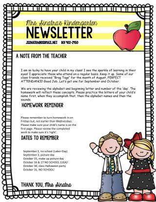 Mrs. Sinatra's Kindergarten Newsletter jsinatra@dsdmail     801 402-2450