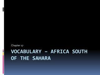 Vocabulary � Africa South of the Sahara