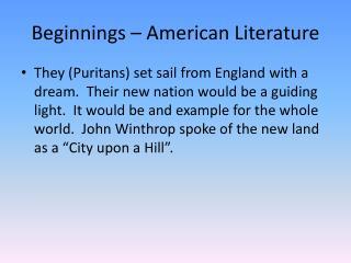 Beginnings – American Literature