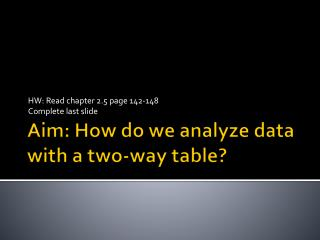 Aim: How do we analyze data with a two-way table?