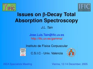 Issues on  -Decay  Total Absorption Spectroscopy