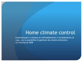 Home  climate  control