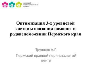 Оптимизация 3-х уровневой системы оказания помощи  в родовспоможении Пермского края