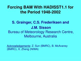 Forcing BAM With HADISST1.1 for the Period 1948-2002