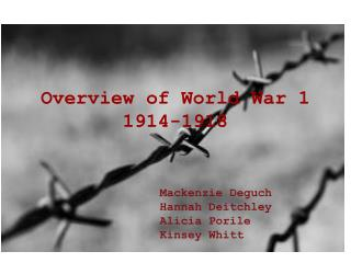 Overview of World War 1 1914-1918