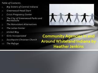 Community Agencies in and  Around  Whiteland Indiana by Heather Jenkins