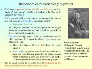 Relaciones entre variables y regresión