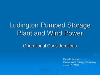 Ludington Pumped Storage Plant and Wind Power