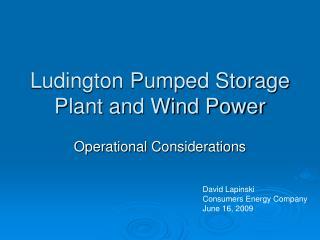 Ludington Pumped Storage Plant and Wind Power
