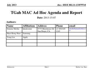 TGah MAC Ad Hoc Agenda and Report