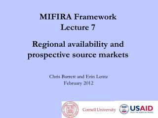 MIFIRA Framework Lecture 7 Regional availability and prospective source markets